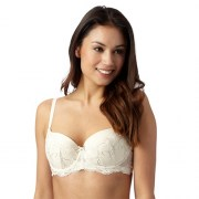 Spirit Cream Fan Embroidery Balcony Bra - Padded